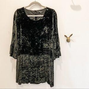 Madewell black crushed velvet mini dress, size M
